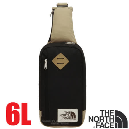 【美國 The North Face】新款 6L 多功能耐磨單肩側背包.斜背包.隨行提包.零錢包/復古風格.可放IPhone等3C用品/CJ4T 黑/摩布卡其