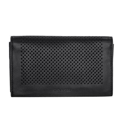 COACH 黑色網洞全皮翻摺卡夾手機袋