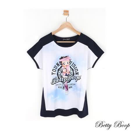 【Betty Boop貝蒂】圓領彩圖配色拼接上衣(共二色)