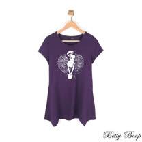 【Betty Boop貝蒂】圓領印圖傘擺長版上衣(共二色)