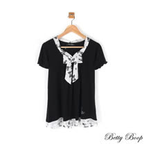 【Betty Boop貝蒂】配色蝴蝶結拼接天絲棉傘狀上衣(共二色)