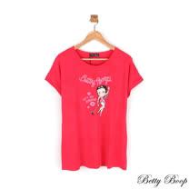 【Betty Boop貝蒂】貼鑽滿版膠印圖案彈性上衣(共二色)