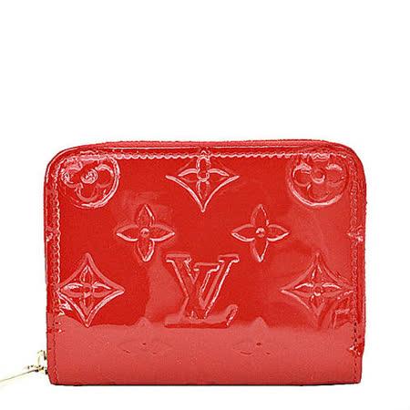 Louis Vuitton LV M90202 經典花紋全漆皮壓紋信用卡零錢包.紅_預購