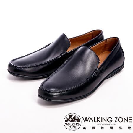 WALKING ZONE(男)真皮氣墊感舒適直套休閒男皮鞋-黑(另有棕)