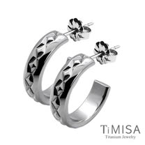 【TiMISA】格緻星光-寬版 純鈦耳環一對