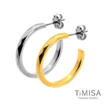 【TiMISA】格緻真愛-細版(雙色)純鈦耳環一對