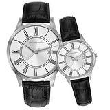pierre cardin皮爾卡登 極度品味時尚對錶-銀x黑