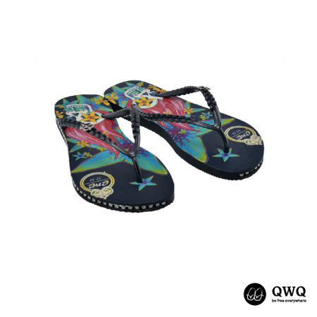 【QWQ】創意設計夾腳拖鞋-怒髮花-黑(有鑽)