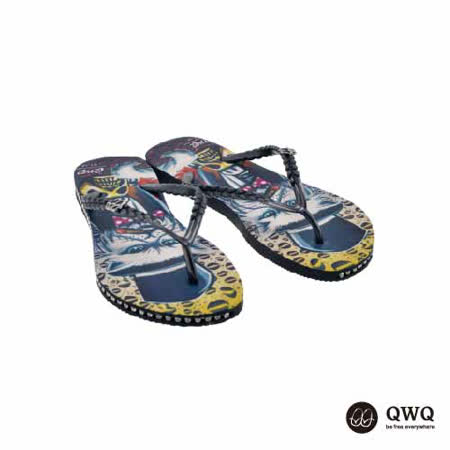 【QWQ】創意設計夾腳拖鞋-Cat Godfather-黑(有鑽)