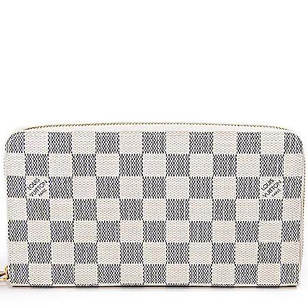 Louis Vuitton LV N60012 白棋盤格紋護照信用卡拉鍊長夾_預購