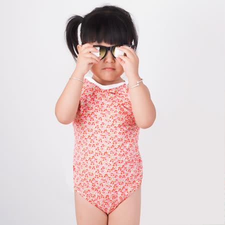 【曼黛瑪璉】細肩帶小花女童連身式三角泳裝(小花粉)