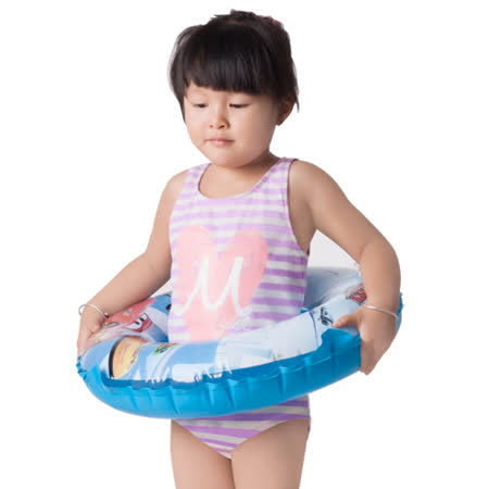 【曼黛瑪璉】愛心條紋女童連身式三角泳裝(迷蝶紫)