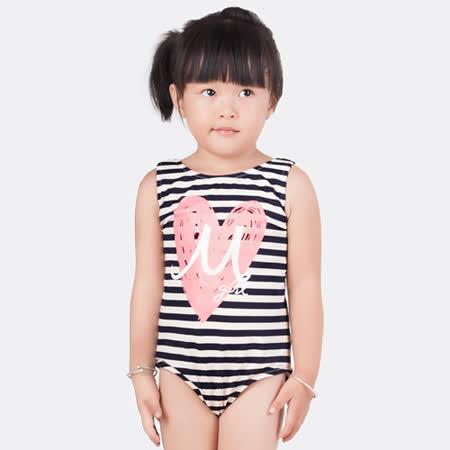 【曼黛瑪璉】愛心條紋女童連身式三角泳裝(時尚藍)