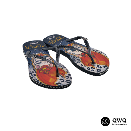 【QWQ】創意設計夾腳拖鞋-Super Dog-黑(有鑽)