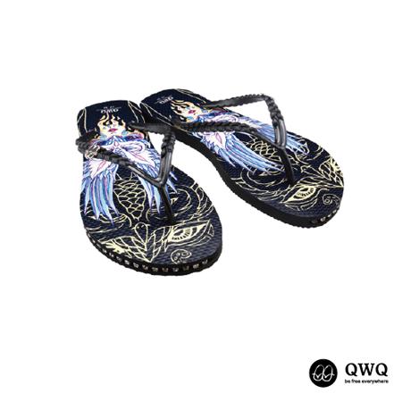 【QWQ】創意設計夾腳拖鞋-守護神-黑(有鑽)