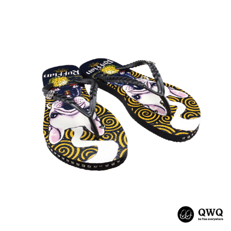 【QWQ】創意設計夾腳拖鞋-Ruffian Dog-黑(有鑽)