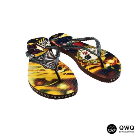 【QWQ】創意設計夾腳拖鞋-Monroe Cat-咖啡(有鑽)