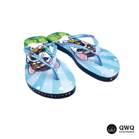 【QWQ】創意設計夾腳拖鞋-Bo Chu-藍(有鑽)