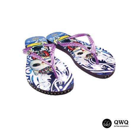 【QWQ】創意設計夾腳拖鞋-Yan Dao Ye-紫(有鑽)