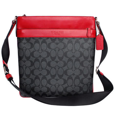 COACH 黑C Logo拼接紅色真皮男用方型斜背包