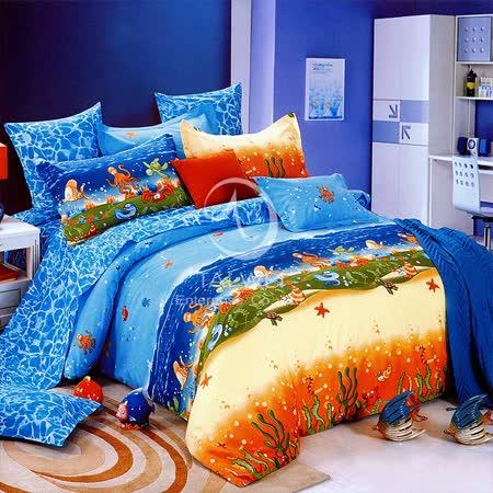 【海底總動員】雙人純棉四件式兩用被床包組
