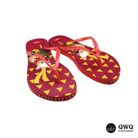 【QWQ】創意設計夾腳拖鞋-New Year-紅(有鑽)