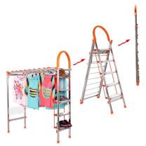 PUSH! 居家生活用品可折疊多功能梯子曬衣架防滑五階家用梯(加厚不銹鋼)I43