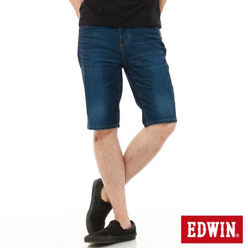 EDWIN 加大碼 迦績褲JERSEYS內藏腰頭牛仔短褲~男~酵洗藍