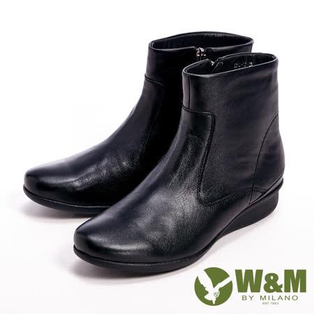 W&M(女)真皮素面個性經典款女靴-黑