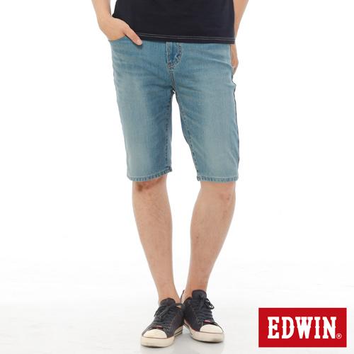 EDWIN 加大碼 迦績褲JERSEYS內藏腰頭牛仔短褲~男~中古藍