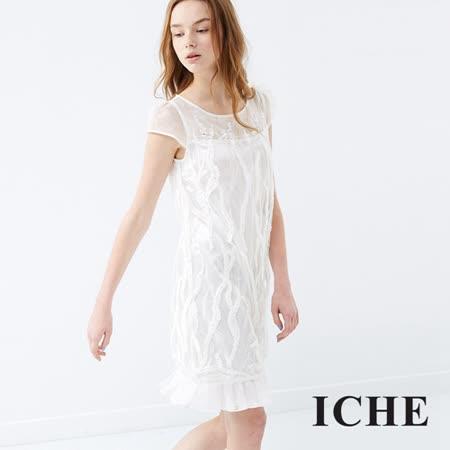 ICHE 衣哲 蕾絲雕花拼接禮服洋裝