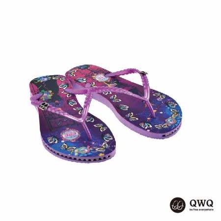 【QWQ】創意設計夾腳拖鞋-Cat Princess-紫(有鑽)
