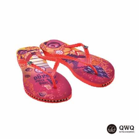【QWQ】創意設計夾腳拖鞋-玻璃鞋之約-紅(有鑽)