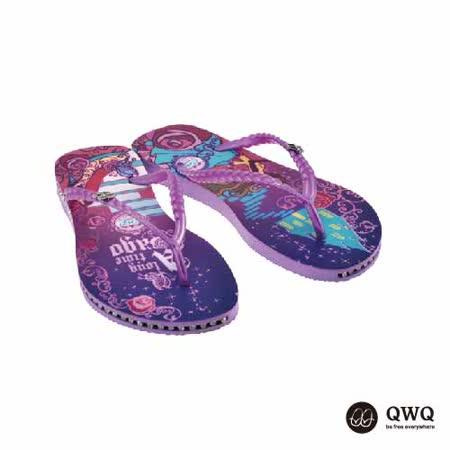 【QWQ】創意設計夾腳拖鞋-玻璃鞋之約-紫(有鑽)