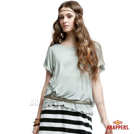 BRAPPERS 女款 異材質拚接短袖上衣-淺灰