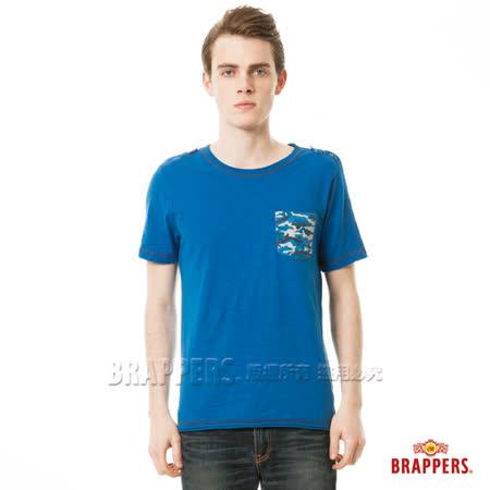 BRAPPERS 男款迷彩印花口袋短袖上衣-寶藍