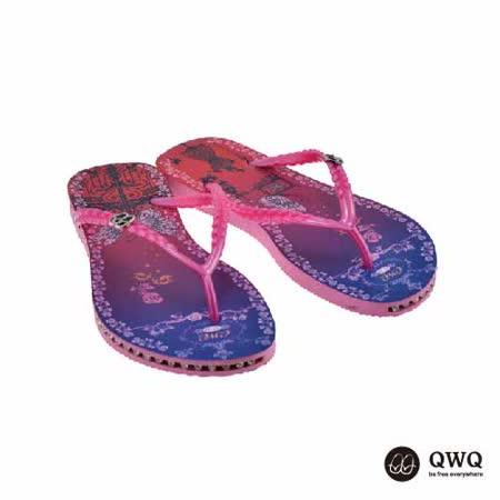 【QWQ】創意設計夾腳拖鞋-虹欄-粉(有鑽)