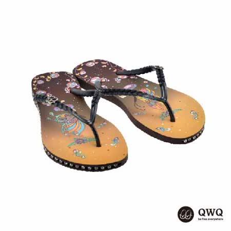 【QWQ】創意設計夾腳拖鞋-彩蝶-咖啡(有鑽)