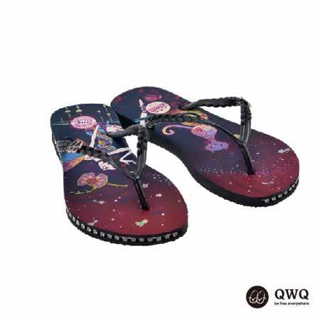 【QWQ】創意設計夾腳拖鞋-魔幻異境-黑(有鑽)