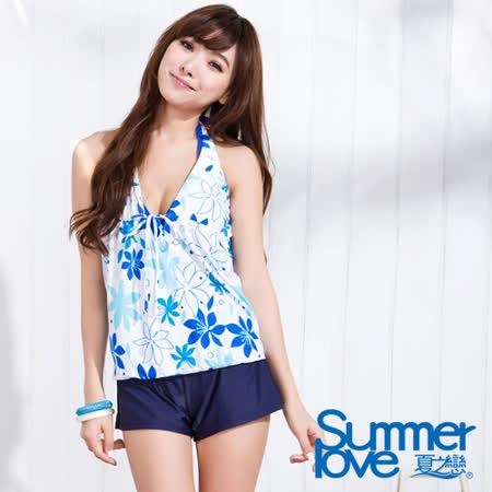 【SUMMERLOVE夏之戀】沁藍花卉長版四件式泳衣(S15755)