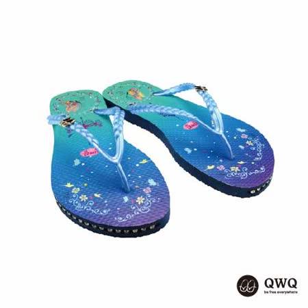 【QWQ】創意設計夾腳拖鞋-空中園-藍(有鑽)