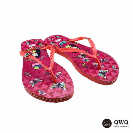 【QWQ】創意設計夾腳拖鞋-夢蝶女-紅(有鑽)