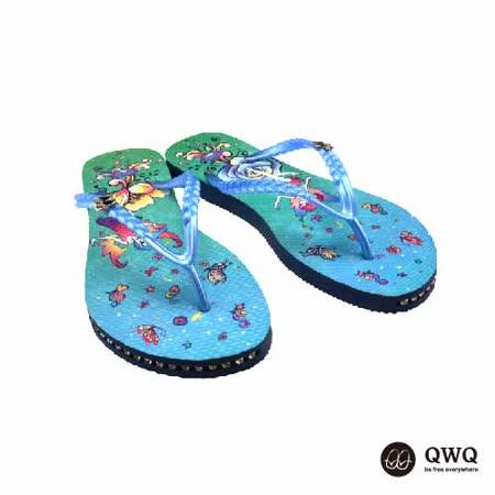 【QWQ】創意設計夾腳拖鞋-精靈之舞-藍(有鑽)