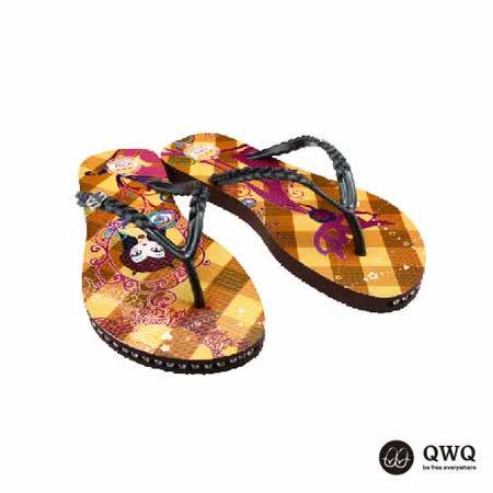 【QWQ】創意設計夾腳拖鞋-貓之鏡-咖啡(有鑽)