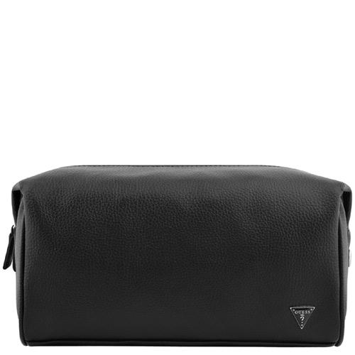 GUESS 皮革壓紋化妝包收納包~黑色~大型 ~
