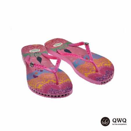 【QWQ】創意設計夾腳拖鞋-心心相印-粉(有鑽)