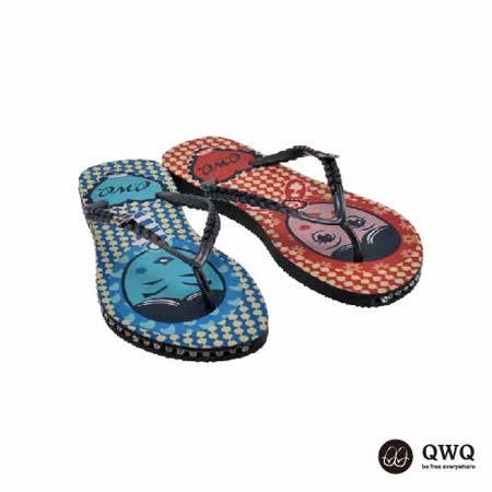 【QWQ】創意設計夾腳拖鞋-豆豆男女-黑(有鑽)