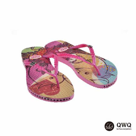 【QWQ】創意設計夾腳拖鞋-雀兒喜-粉(有鑽)