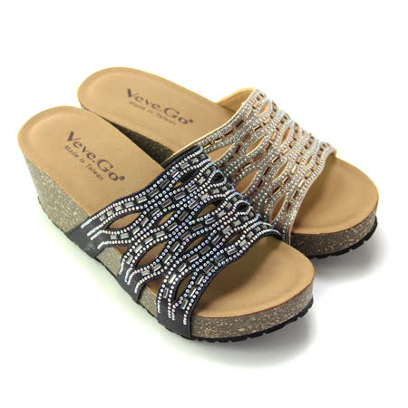 【Pretty】艷夏閃耀壓克力水鑽鏤空厚底拖鞋