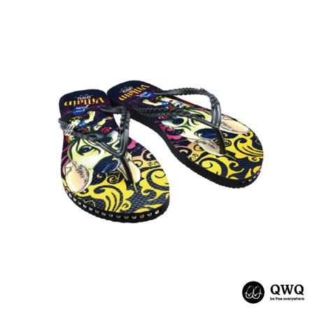 【QWQ】創意設計夾腳拖鞋-Villain Dog-黑(有鑽)
